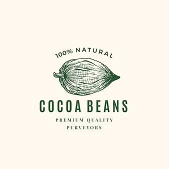 Logotipo de granos de cacao natural