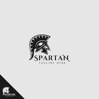 Logotipo de guerrero espartano con estilo de silueta