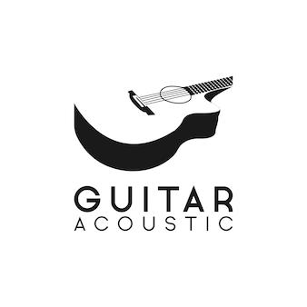Logotipo de guitarra acústica retro hipster