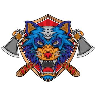 Logotipo de hacha de lobo enojado