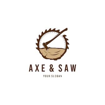 Logotipo de hacha y sierra de leñador