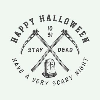 Logotipo de halloween retro vintage