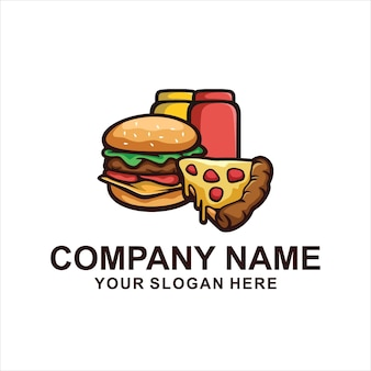 Logotipo de hamburguesa caliente aislado en blanco