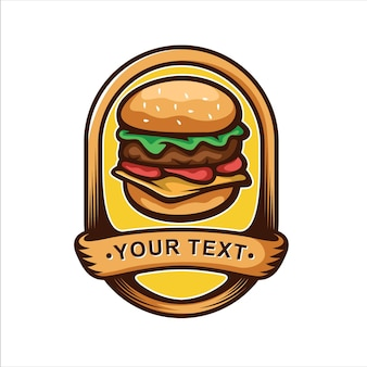 Logotipo de hamburguesa emblema vintage
