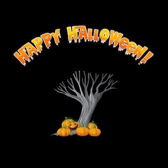 Logotipo de happy halloween con árbol espeluznante