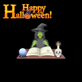 Logotipo de happy halloween con personaje de dibujos animados de brujas