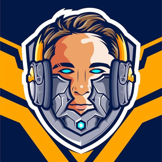 Logotipo de head cyborg gamer esport