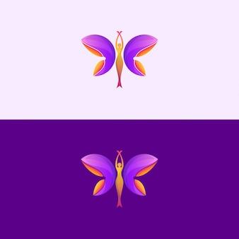 Logotipo hermoso de la mujer de la salud de la mariposa