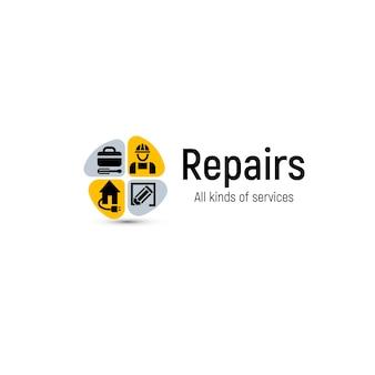 Logotipo de herramientas de reparación de viviendas. icono de servicio de renovación de la casa.