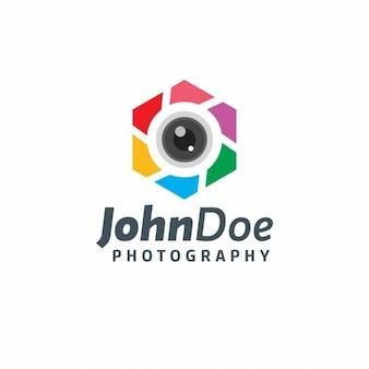Logotipo hexagonal colorido de fotografía
