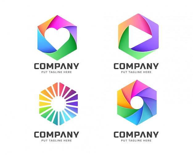 Logotipo hexagonal para empresa comercial