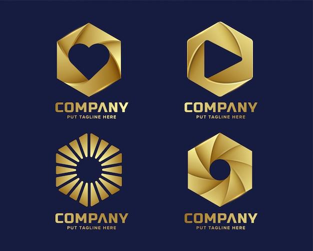 Logotipo hexagonal de lujo premium