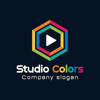 Logotipo de hexágono colorido