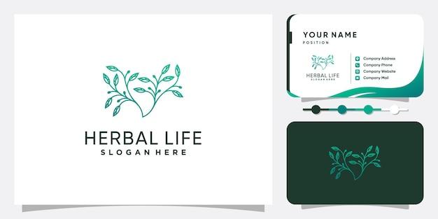 Logotipo de hierbas con concepto creativo de hojas y ramitas vector premium