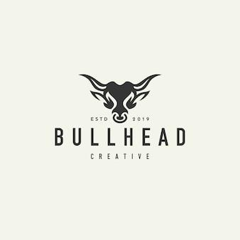 Logotipo de hipster cabeza de búfalo