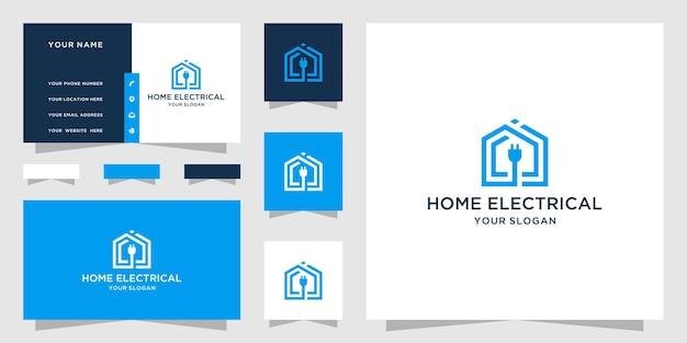 Logotipo de hogar eléctrico y plantilla de tarjeta de visita