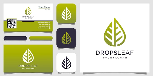 Logotipo de hoja y agua con arte lineal. logotipo y tarjeta de visita