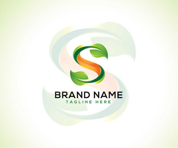 Logotipo de hoja y concepto de logotipo 3d letra inicial s