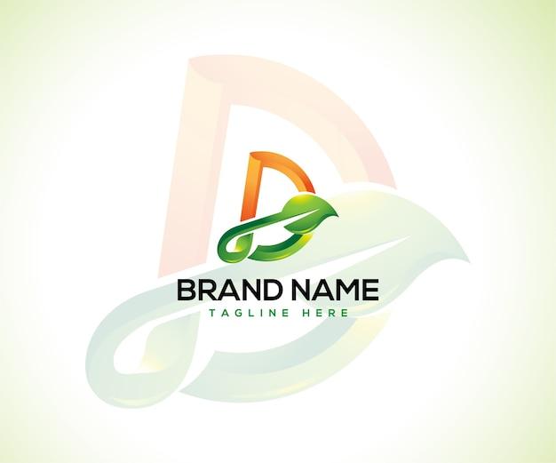 Logotipo de hoja y concepto de logotipo inicial letra d