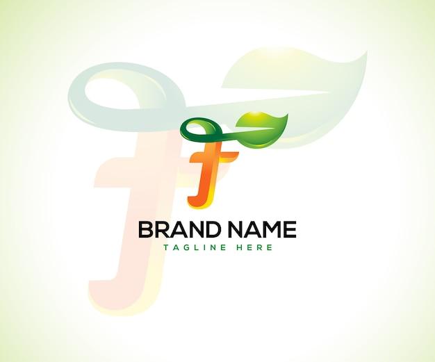 Logotipo de hoja y concepto de logotipo inicial letra f