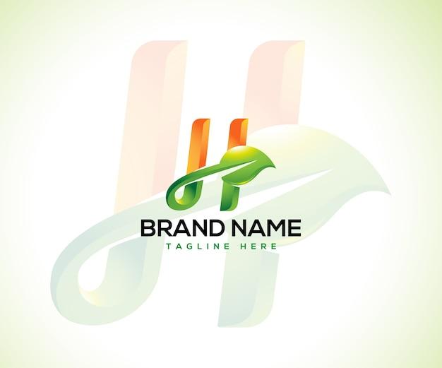Logotipo de hoja y concepto de logotipo inicial letra h
