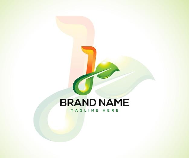 Logotipo de hoja y concepto de logotipo letra inicial j