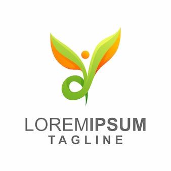 Logotipo de hoja de cuidado de personas coloridas