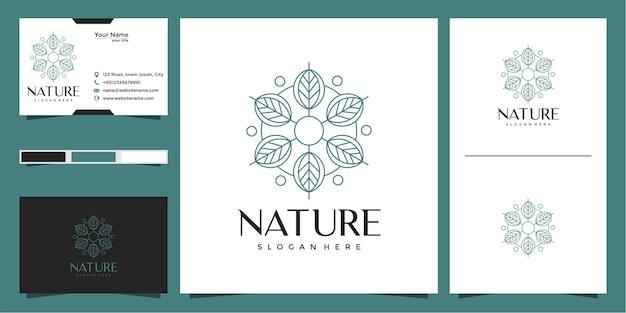 Logotipo de hoja con estilo de contorno circular y tarjeta de visita