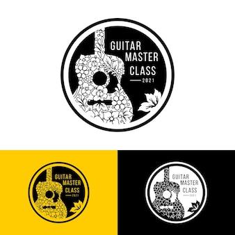 Logotipo de hoja y flor de guitarra para el logotipo de curso o festival de guitarra