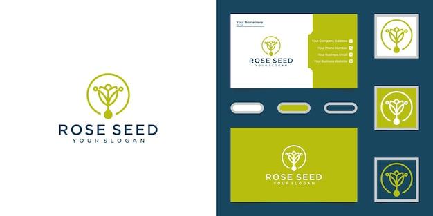 Logotipo de hoja y flor de semilla verde y tarjeta de visita
