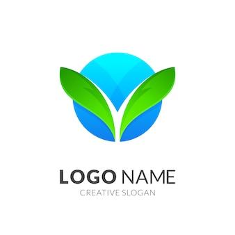 Logotipo de hoja y globo + naturaleza