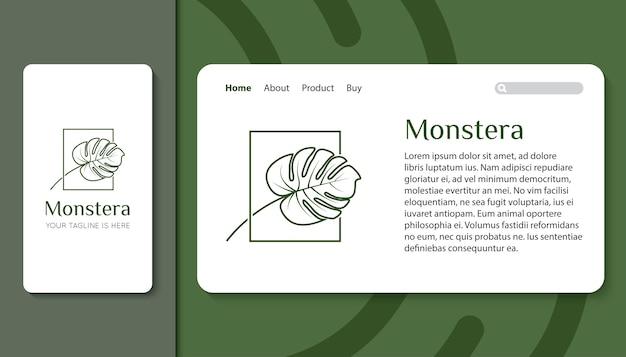 Logotipo de hoja de monstera para aplicación móvil y plantilla de página de destino