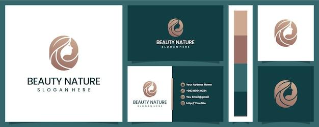 Logotipo de hoja de mujer de naturaleza de belleza con plantilla de tarjeta de visita