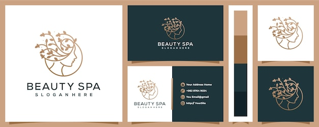 Logotipo de hoja de mujer de spa de belleza con plantilla de tarjeta de visita