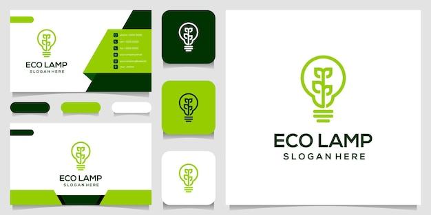 Logotipo de hoja de naturaleza de lámpara ecológica y tarjeta de visita.