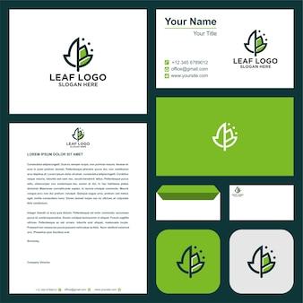 Logotipo de hoja y papelería empresarial moderna.