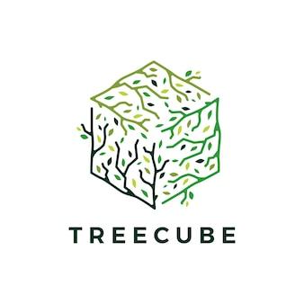 Logotipo de hoja de rama de árbol cúbico cubo
