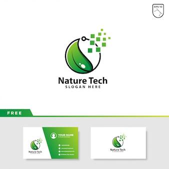 Logotipo de hoja y tecnología