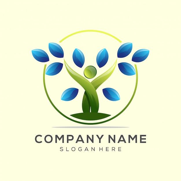 Logotipo de hoja de yoga vector premium