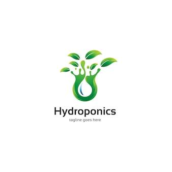 Logotipo de hojas y agua hidropónicas