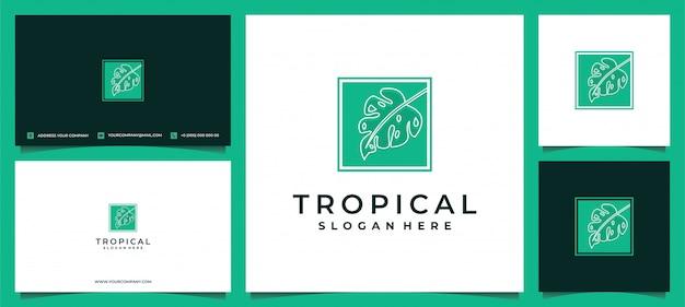 Logotipo de hojas verdes de plantas tropicales con tarjeta de visita