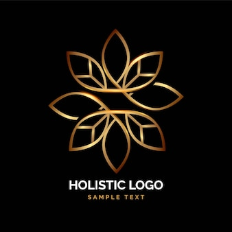 Logotipo holístico dorado detallado
