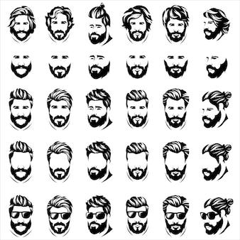 Logotipo de hombre de barba fresca
