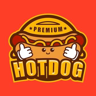 Logotipo de hotdog de dibujos animados plana