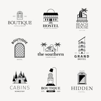 Logotipo del hotel conjunto de identidad corporativa de negocios negros.