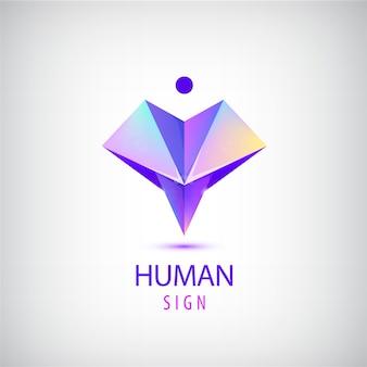 Logotipo humano, signo. origami brillante hombre moderno