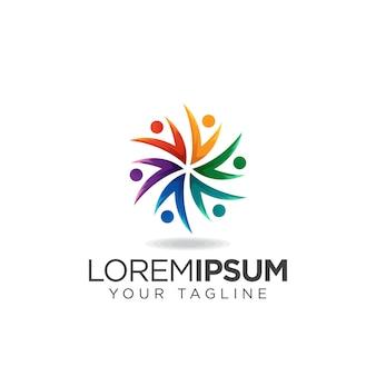 Logotipo humano social colorfull