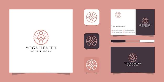 Un logotipo de icono de arte lineal de una persona de yoga con logotipo de línea de buda y diseño de tarjeta de visita
