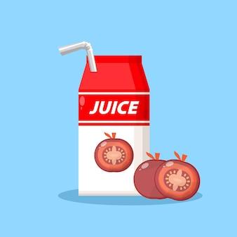 Logotipo de icono de caja de embalaje de jugo de tomate