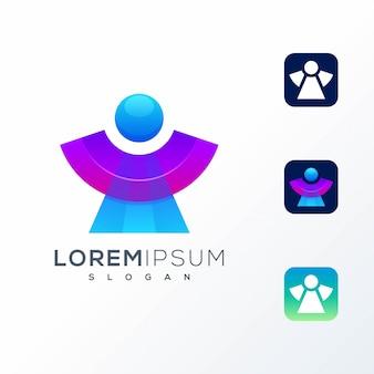 Logotipo de icono colorido abstracto